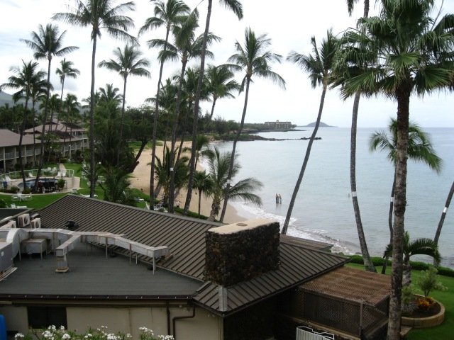 The view from our balcony of the main beach where we swam, Kamaole Beach I